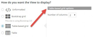 Table-based grid options