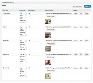 eine Feldertabelle mit 5 Reihen Inhalt - jeder Einhaltseintrag ist ein Beitragstyp mit einem Raum.