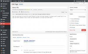 CV page - how it looks like from the WP dashboard