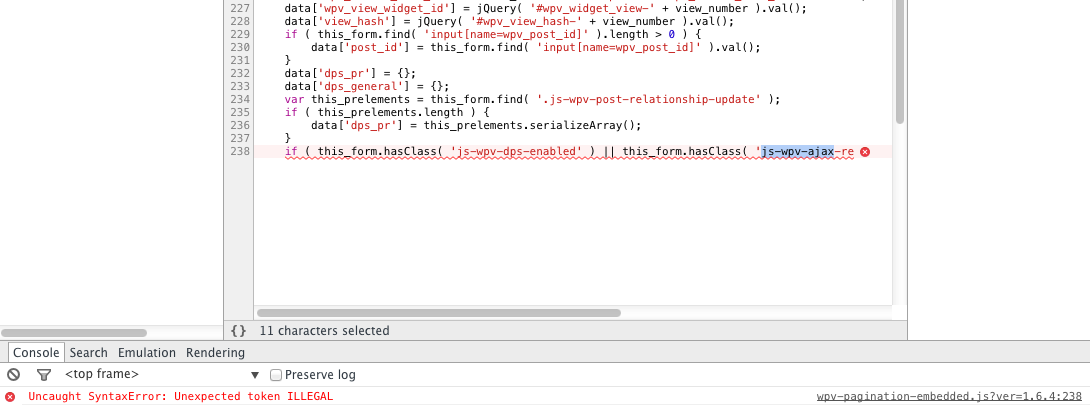 Pagination not working - Uncaught SyntaxError: Unexpected