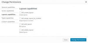 Layouts capabilities options in the custom role editing dialog box in the Access plugin