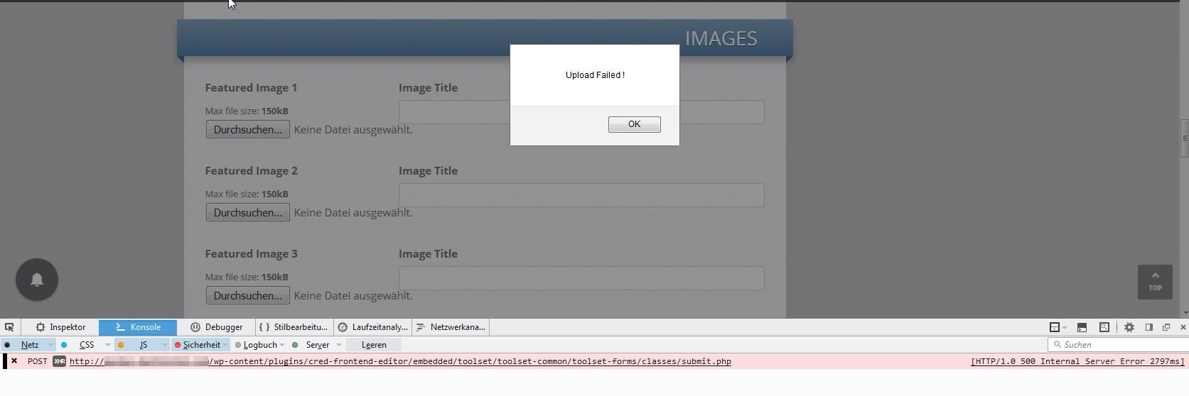 File upload not working: 500 internal server error on custom