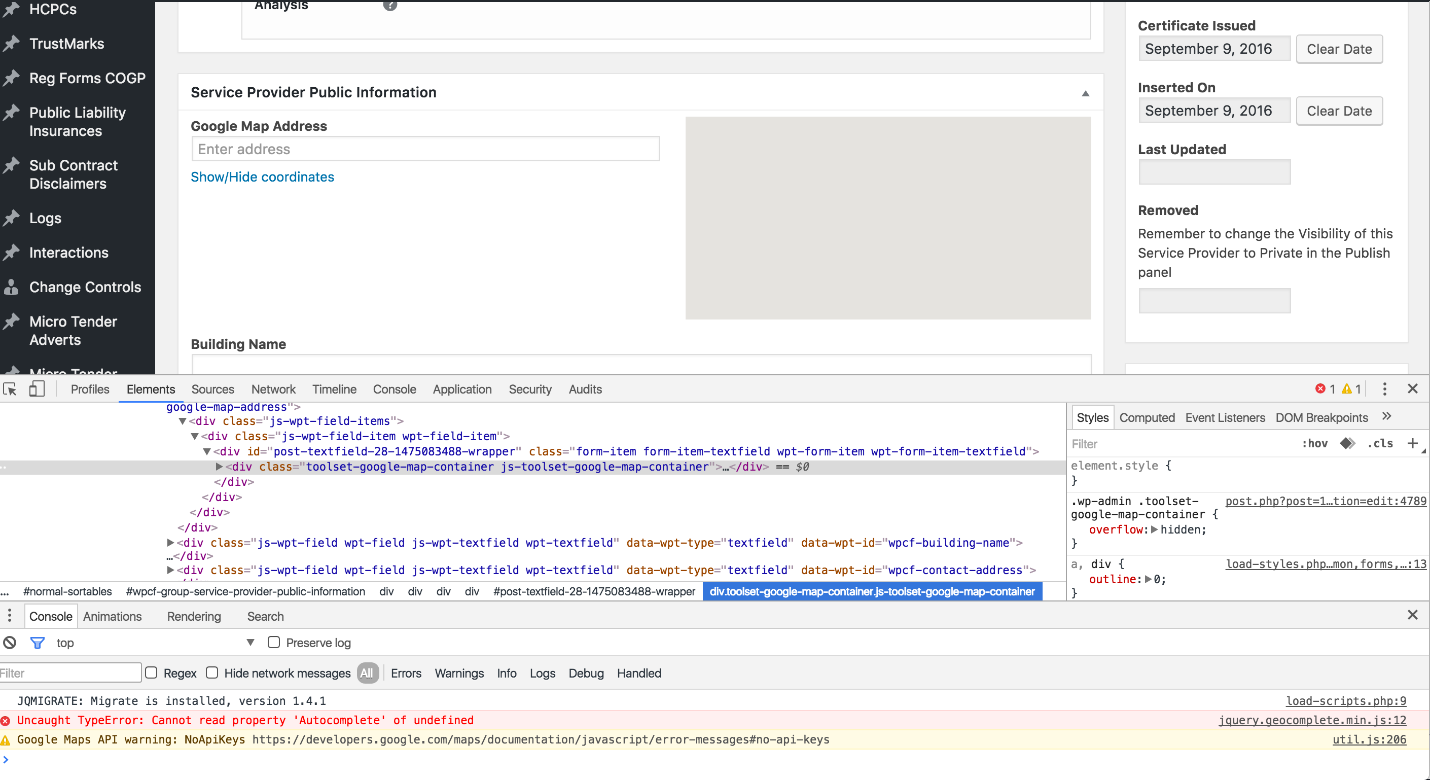 Once Google Maps API key is installed Maps doesn't work nor