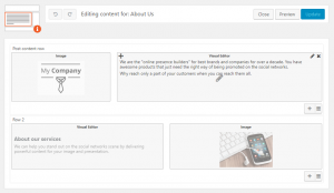 """Layout for contents of the """"About Us"""" page"""
