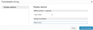 Selecting the context of the string to translate