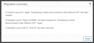 Dialog box with the migration summary