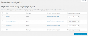 Toolset Layouts Migration main page
