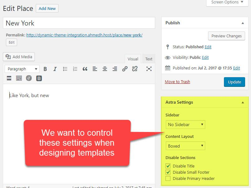 Theme settings that Toolset can control