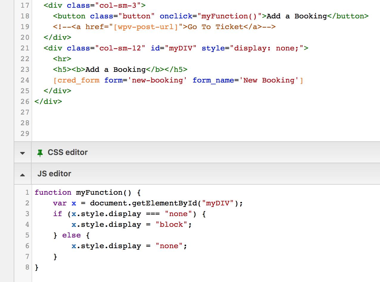 Javascript to hide/show div in View loop item targeting