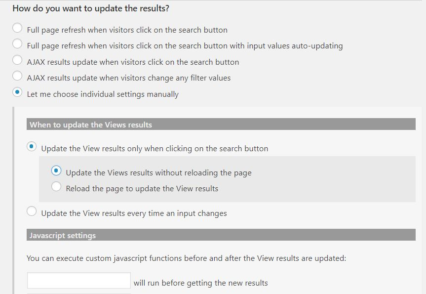 Reset button event when the results are updated - Toolset
