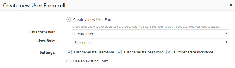 Settings for creating a new User Form