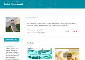 Individual contractor page with his portfolio