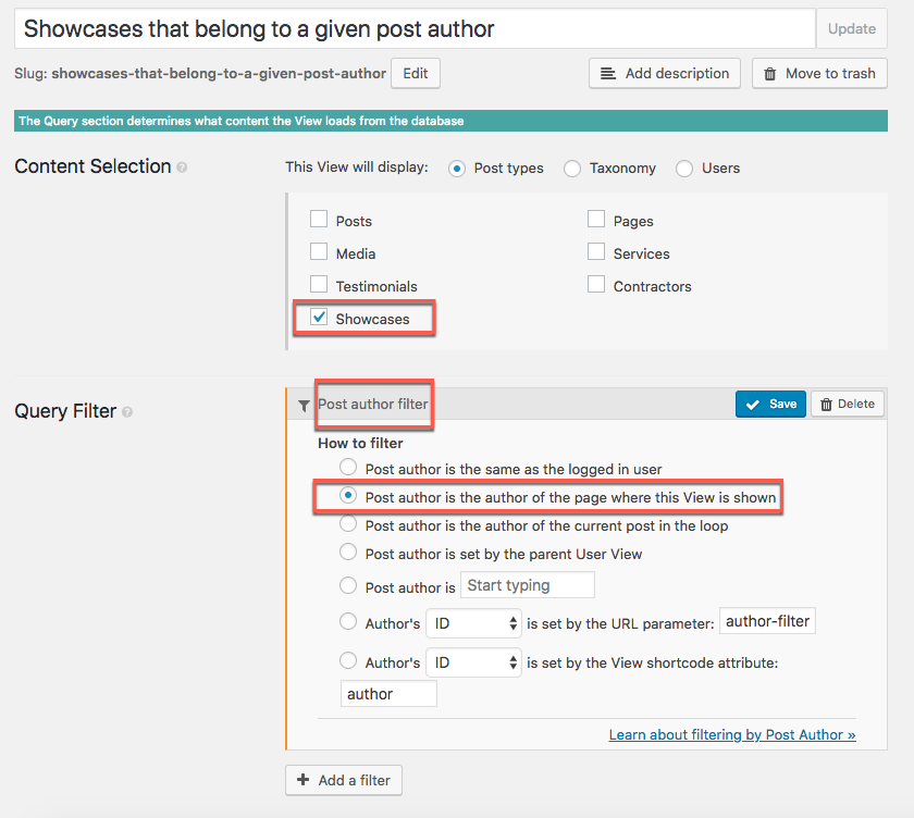 View with the post author filter