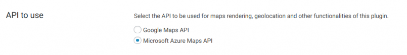 Selecting the maps API to use