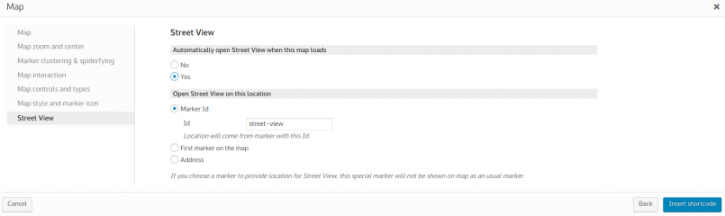 Street View options when inserting a map