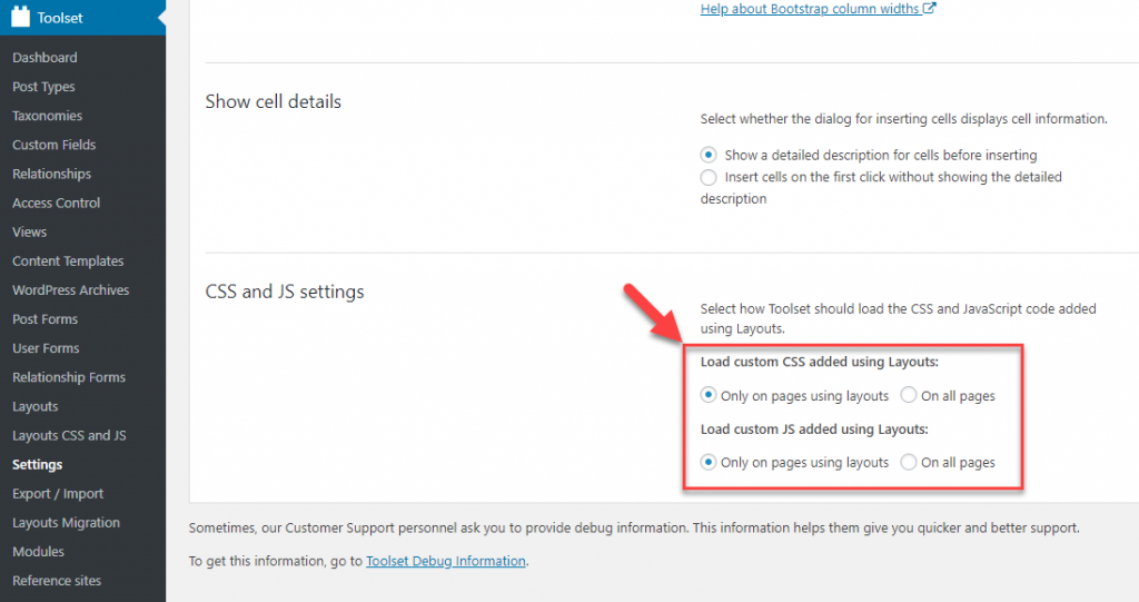 CSS and JS settings section on the Layouts settings page