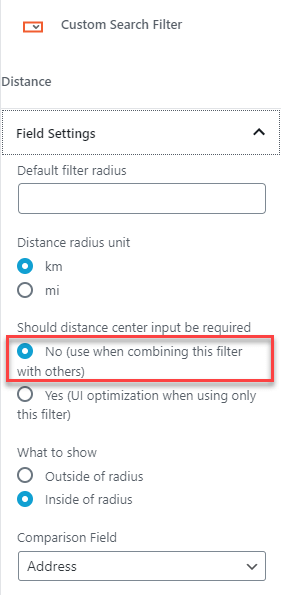 Distance filter settings