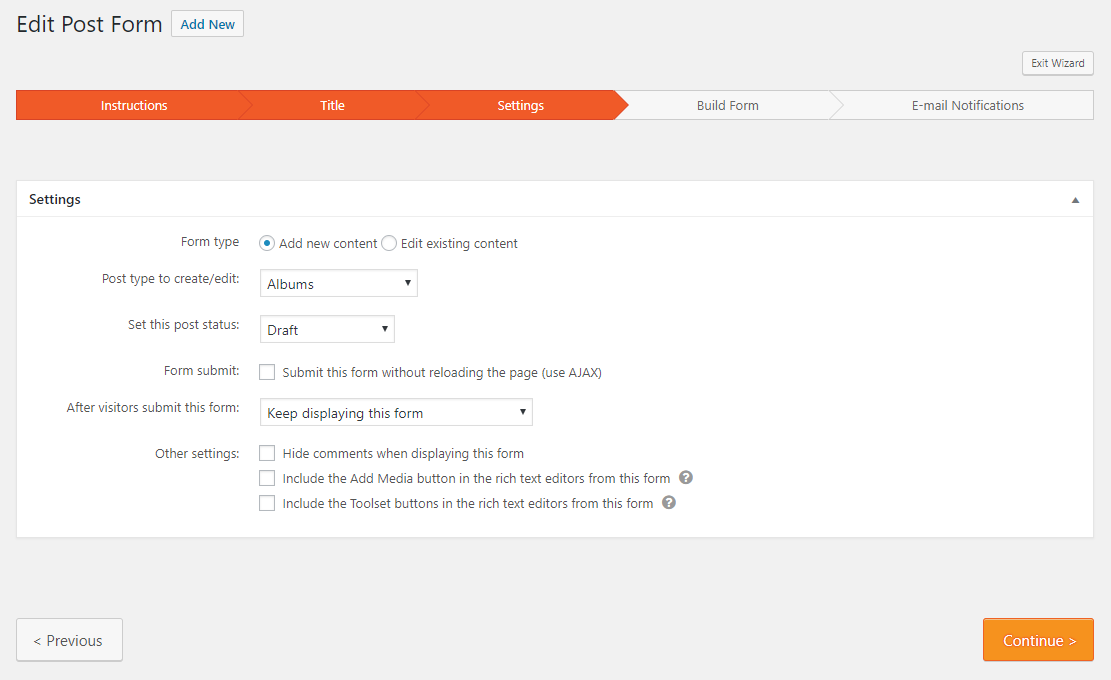 Building Forms for Creating Content - Toolset