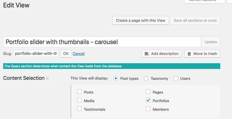Replace the Portfolio post type with your post type in the slider that displays thumbnails