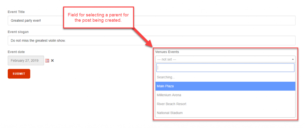 Form for creating child posts with a selector for the parent post.