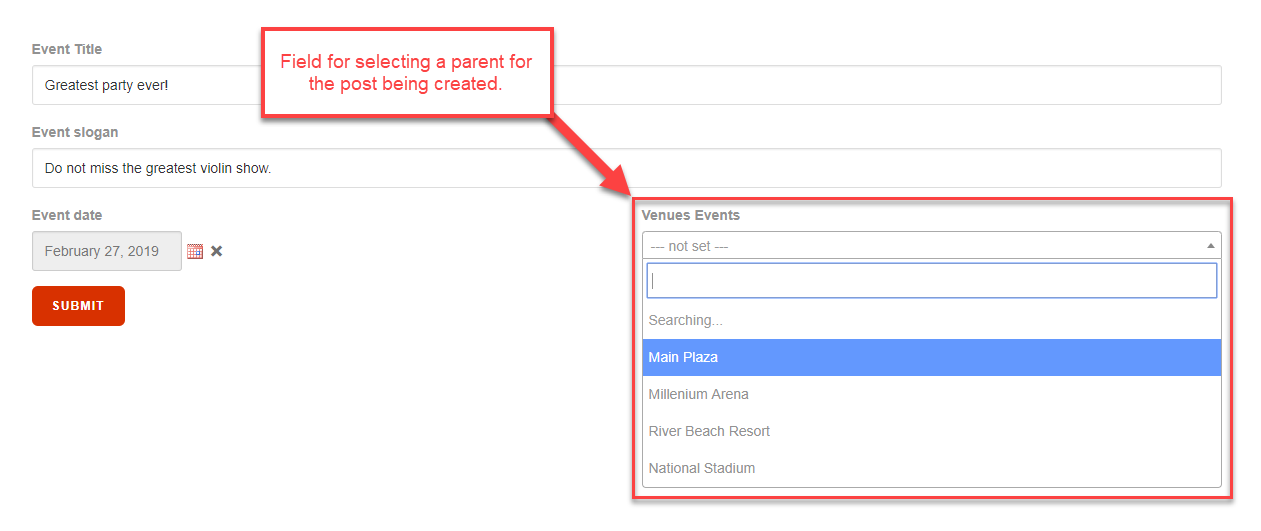Selecting Parent Posts when Using Forms to Create Child