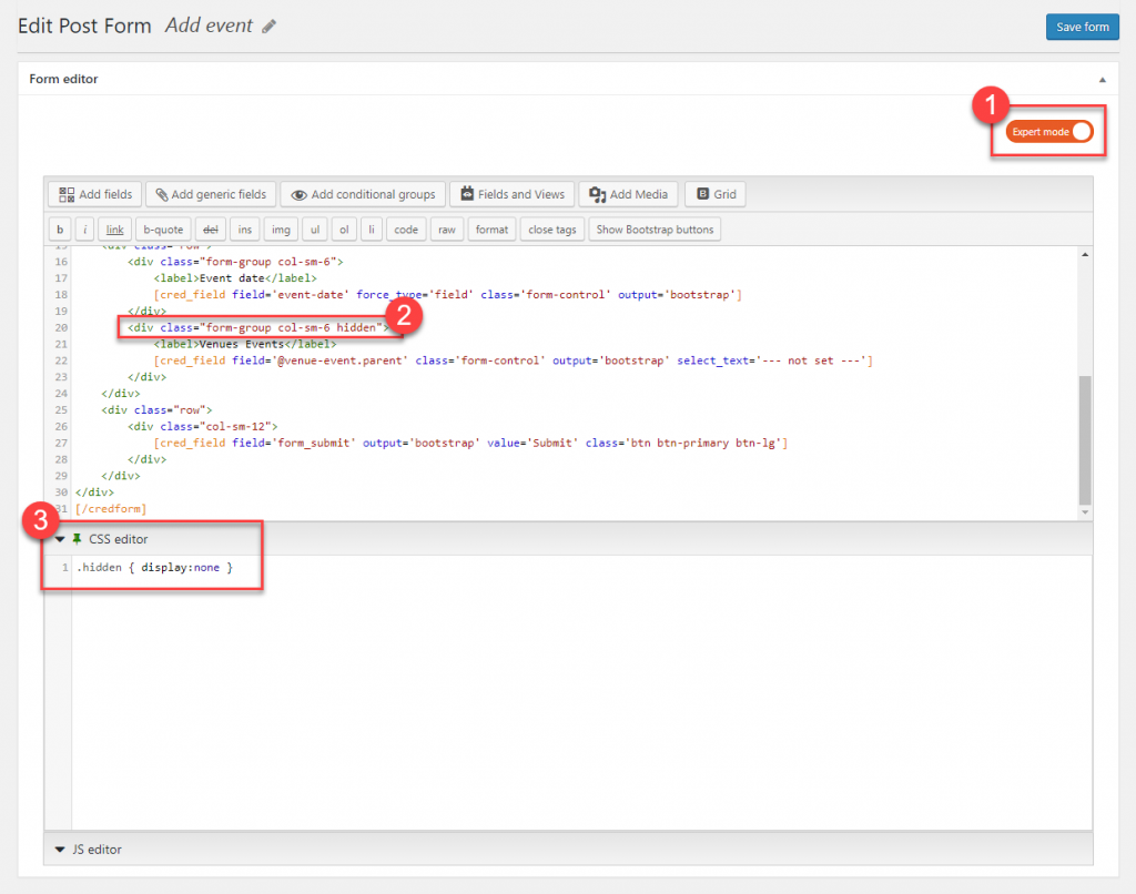 Using simple CSS to hide the parent selector field.