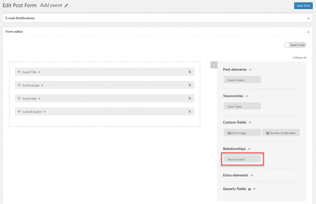 Inserting the parent selector field manually.