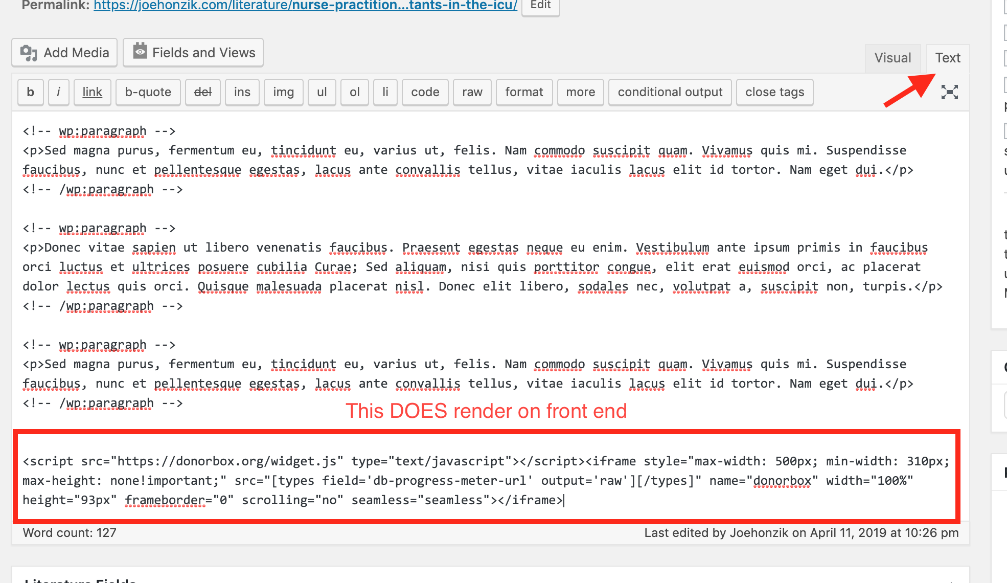 How to add dynamic URL to src within iframe? - Toolset