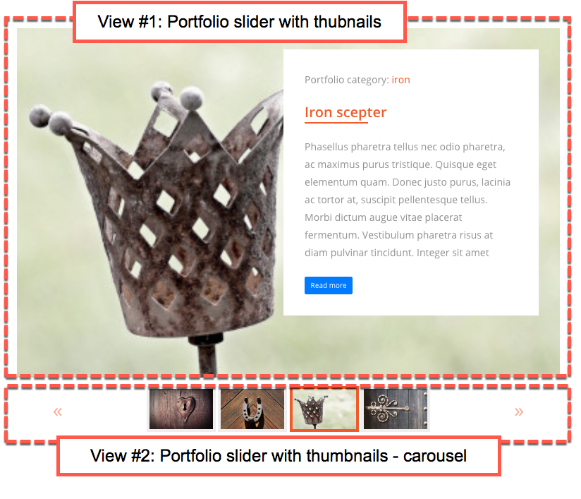 Anatomy of the thumbnail slider - the thumbnail slider consists of two Views.