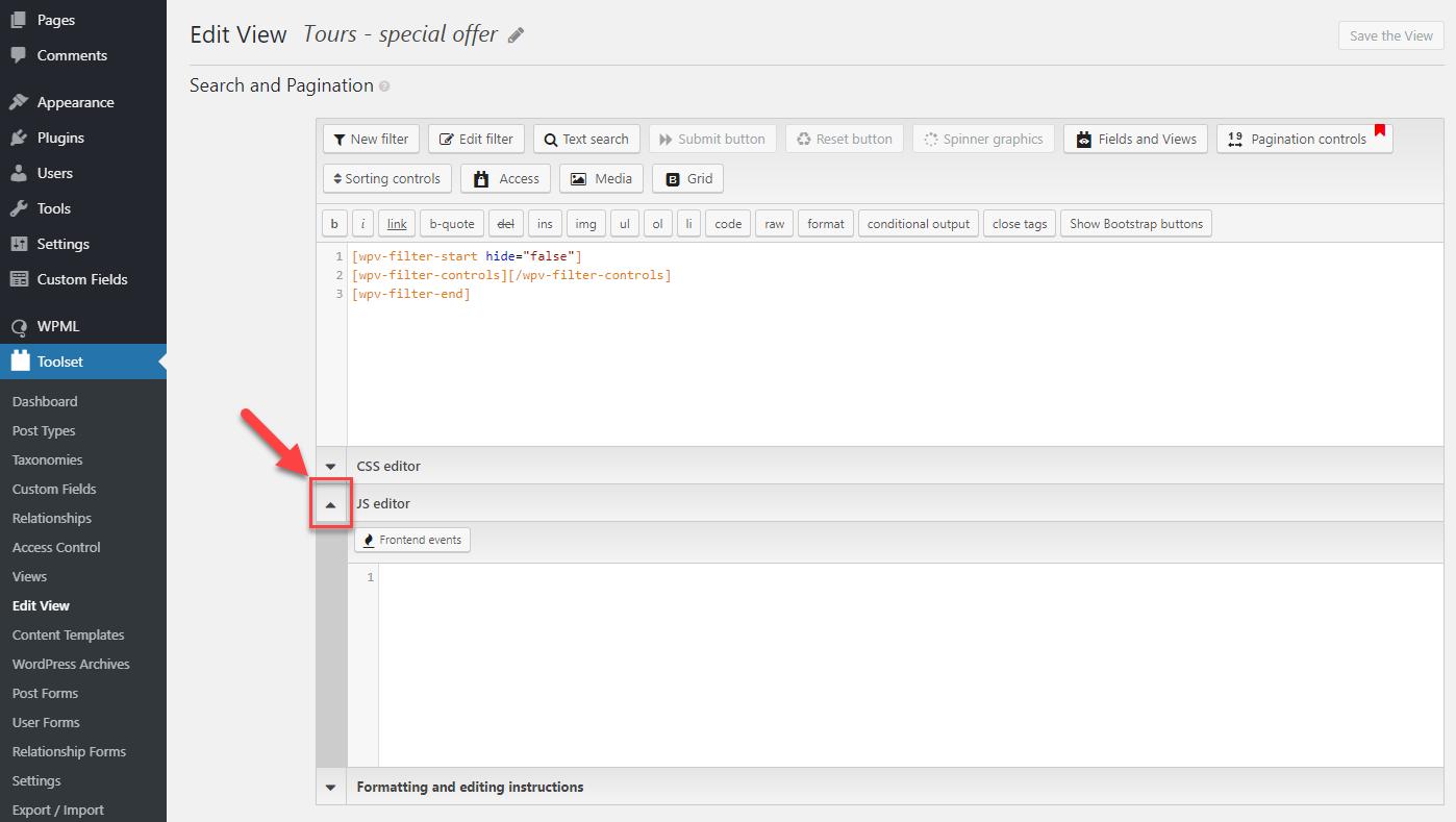 Adding custom JavaScript to Views - Toolset