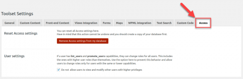 Reset Access settings page