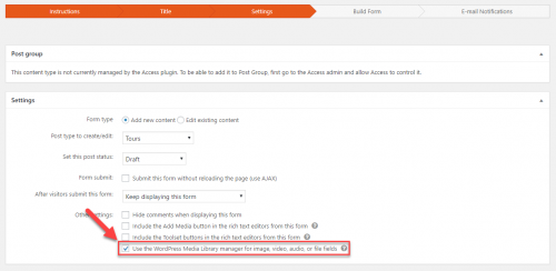Option to use the WordPress media manager with the form