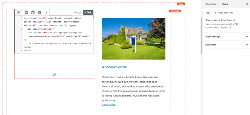 TB Fields and Text blocks with Bootstrap classes applied - backend