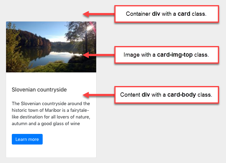 Container and content classes for using Bootstrap 4 card component