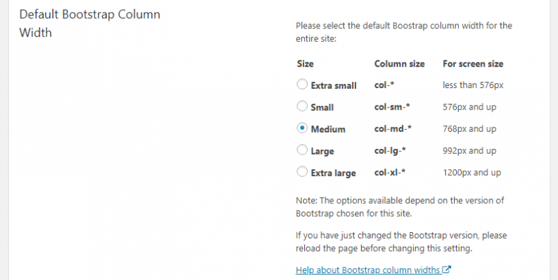 Settings section to change the default column width globally