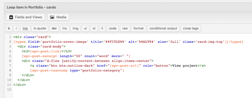 HTMlL markup using Bootstrap classes in a View's template