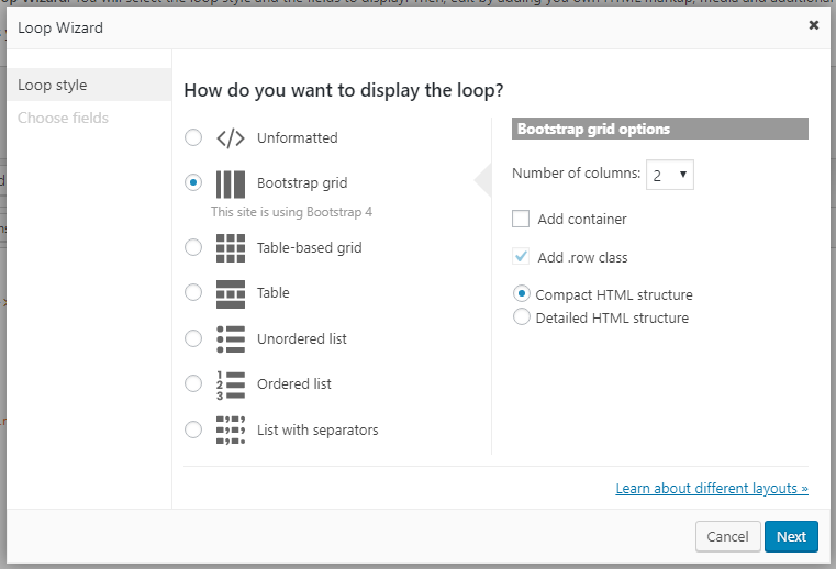 Bootstrap grid options