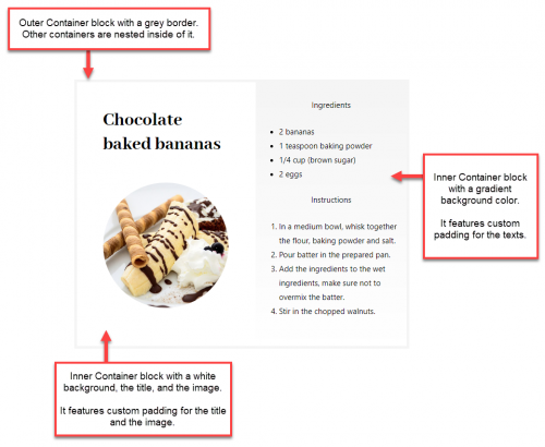Recipe page using nested Container blocks to achieve custom styling and layout