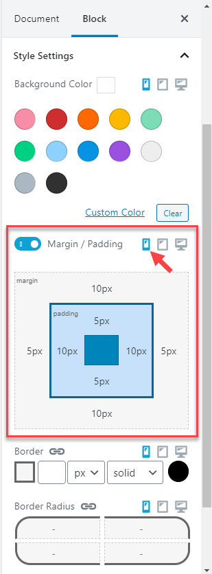 Adjusting a Toolset block's margins and paddings for phone screens