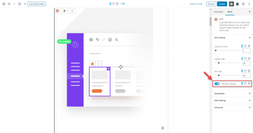 The Grid block's Reverse Column option