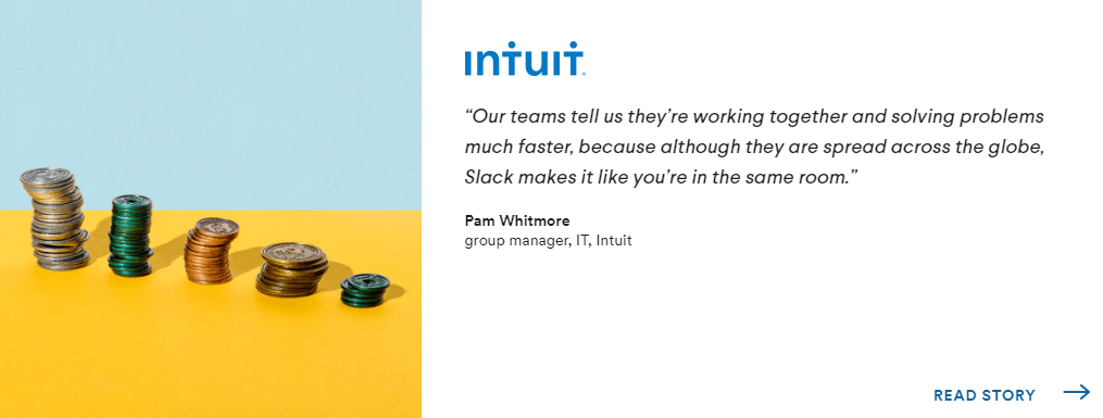 Testimonial from Intuit on the website of Slack