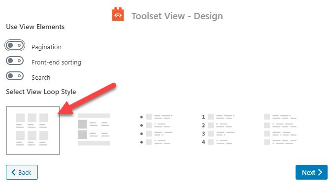 Select Grid View Loop Style