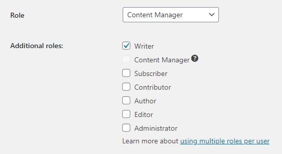 Assigning multiple roles per user