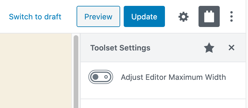Toolset Editor max-width option active