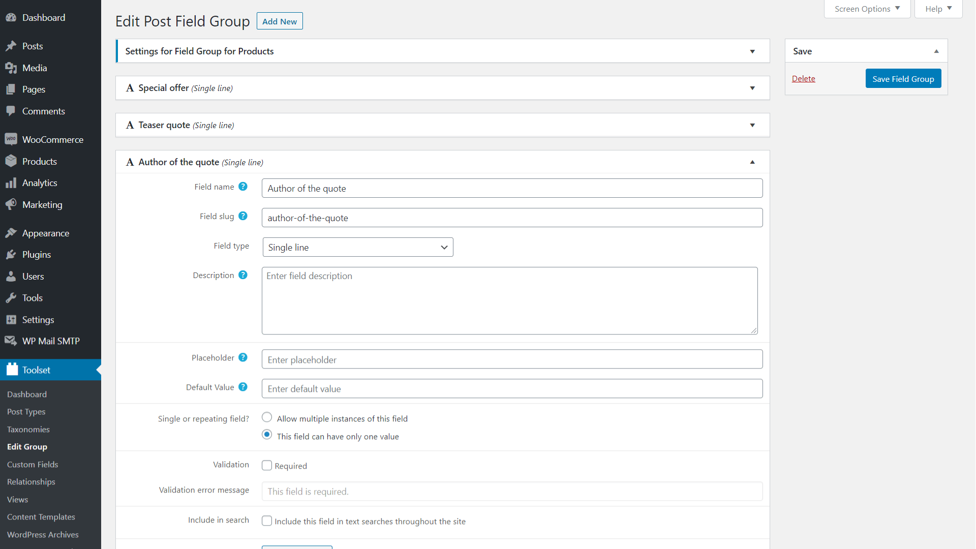 Adding Custom Fields to WooComerce products