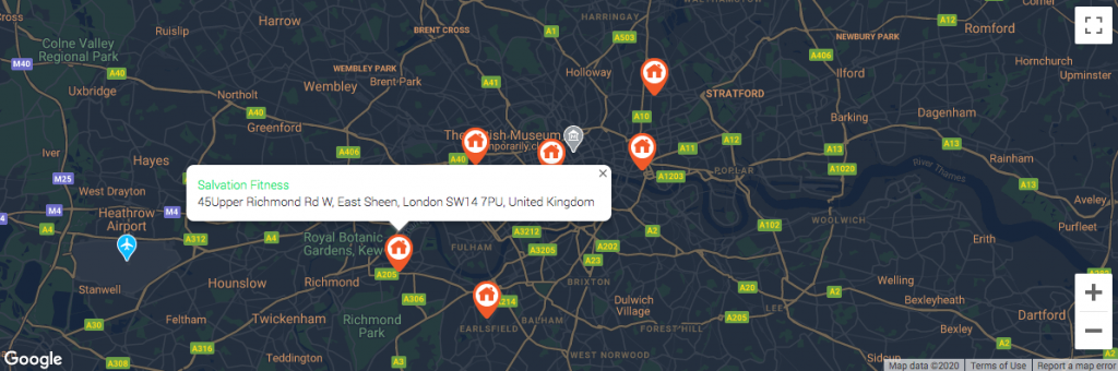 Carte avec champs personnalisés dans la fenêtre contextuelle du marqueur