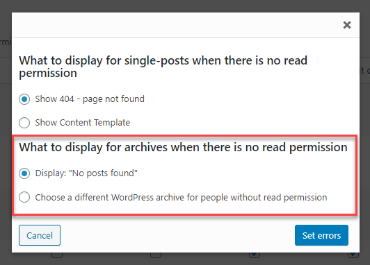 Selecting what to display for archives for users without read permission