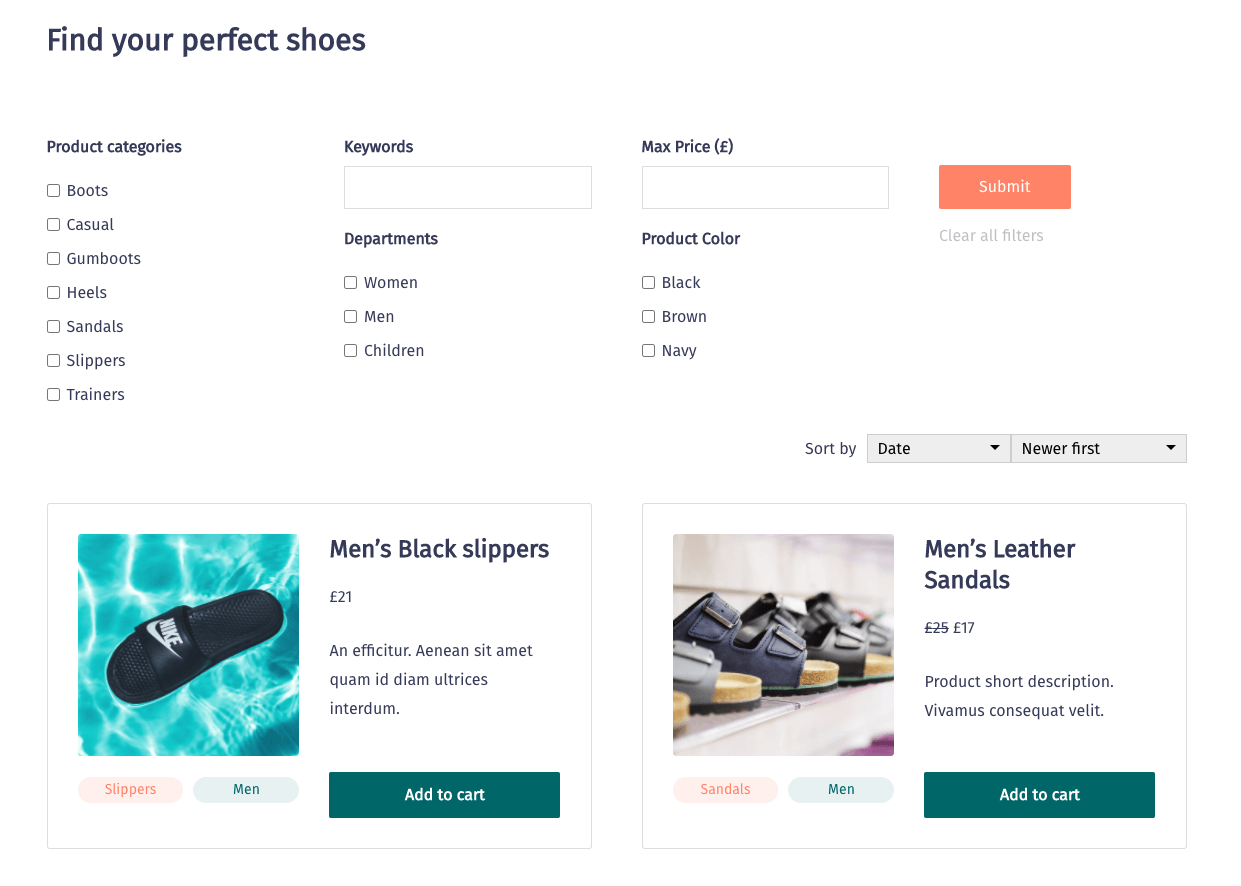 Custom Search for WooCommerce Products created with Toolset