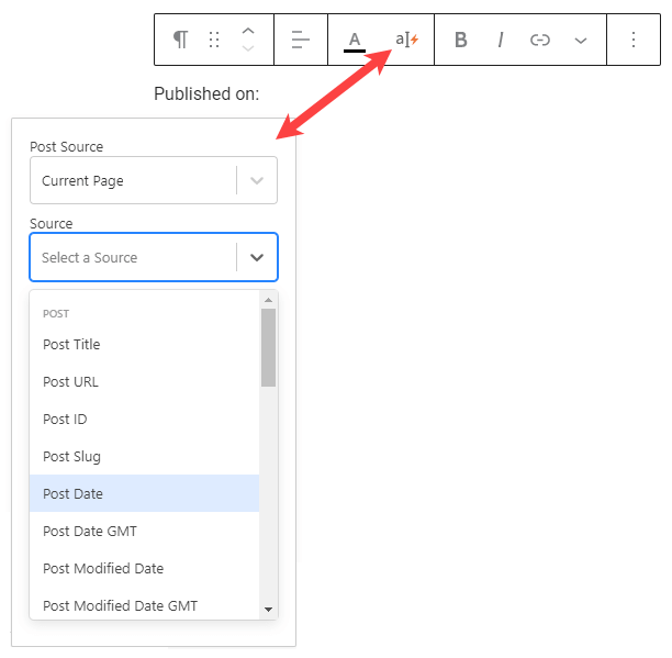 Toolset Inline Field button in the dialog of the core Paragraph block
