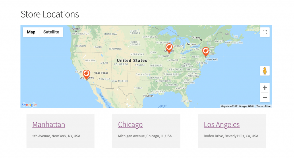 Show your store locations on a map using custom views